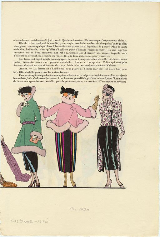 [Green coat, pink coat with multi-colored skirt, and patterned top with black skirt, ca. 1920.]