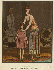 Robe du soir et robe d'enfant, de Jeanne Lanvin.