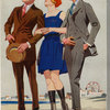 Men in suits and woman in bathing suit, United States, 1920s