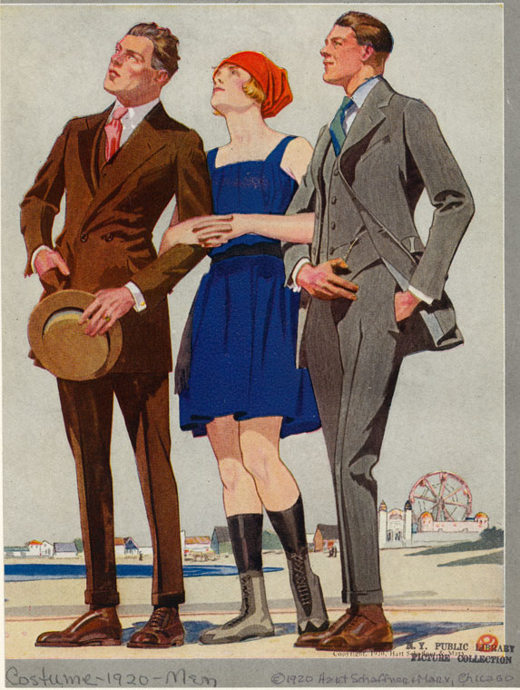 [Men in suits and woman in bathing suit, United States, 1920s.]