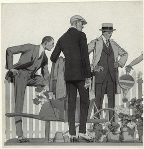 [Men standing near potted plants, United States, 1920s.]