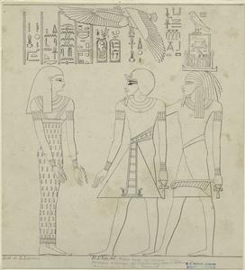 Pharaoh Aménophis III (18th Dynasty) making offering to Ammon-Ra & Goddess Tamon V.