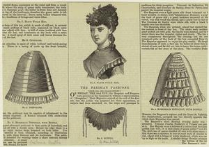Crinoline ; Black tulle hat ; Bustle ; Horsehair petticoat, with bustle.