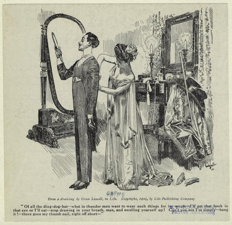 [Man and woman in a dressing room.]