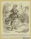 Cartoon Showing A Woman In A Crinoline Or Hoopskirt.
