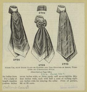 Stock-tie, with stock plain or plaited and ties knotted in ascot, turn-over or coronation style.