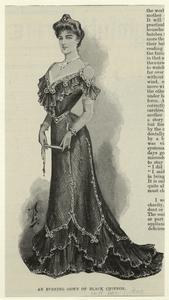 An evening gown of black chiffon.