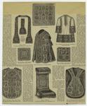 Stole ; Velum ; Rochet ; Palla ; Pluviale Or Vesper Mantle ; Bursa ; Chasuble -- Back ; Priedieu ; Chasuble -- Front.