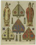 Bishops in vestments and details of miters, 14th century