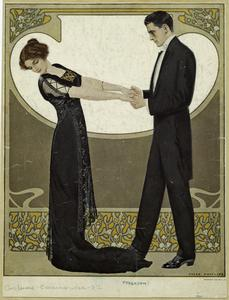 [Man in tuxedo and woman in evening gown.]