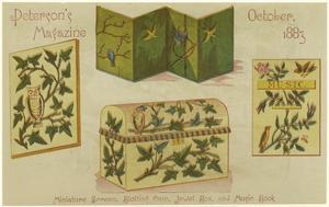 Miniature screen, blotting case, jewel box, and music book.