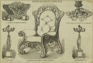 [Armchair, candelabra, canterbury and ink stand, England, 19th century.]