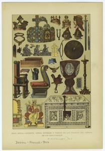 Edad media -- adornos, armas, muebles y vasijas de los francos del tiempo de los carlovingios.