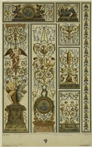 [Design with angels, men and women, and floral designs, France, 17th century.]