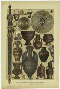 Edad media -- armas, adornos y vasijas arabes.