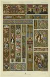 Renaissance Border Designs With Egyptian Imagery, Human Figures, And Floral Patterns.