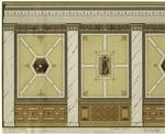 Renaissance Wall Designs Depicting Tableware And A Woman With A Lyre.