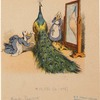 [Duck seamstresses adjusting the tail of a peacock in front of a mirror.]