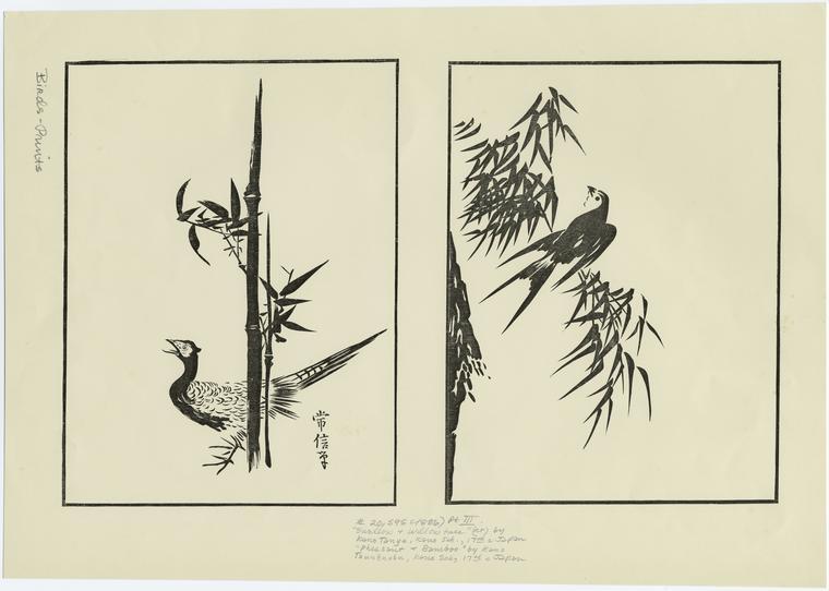 Pheasant & bamboo ; Swallow & willow tree.