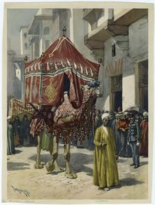 [Camel with a howdah on its back.]