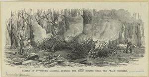 Battle of Pittsburg Landing -- burning the dead horses near the peach orchard.