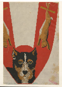 [Design of a dog and dead rabbits.]