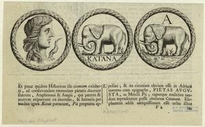 [Coins, or medals, with designs of a woman's profile and elephants.]