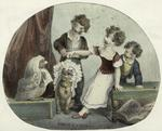 Children Placing Wigs And Headdresses On Their Pets.