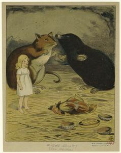 [Tiny girl standing beside a rat and a mole.]