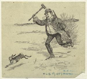 [Man chasing rabbit.]