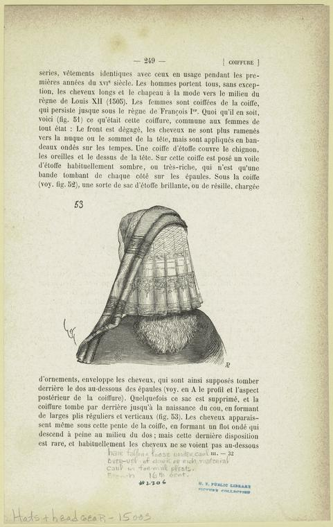 Hair falling loose under caul over-veil of dark or rich material caul in formal pleats, French, 16th cent.