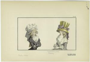[Women with elaborate hats, France, 1780s.]