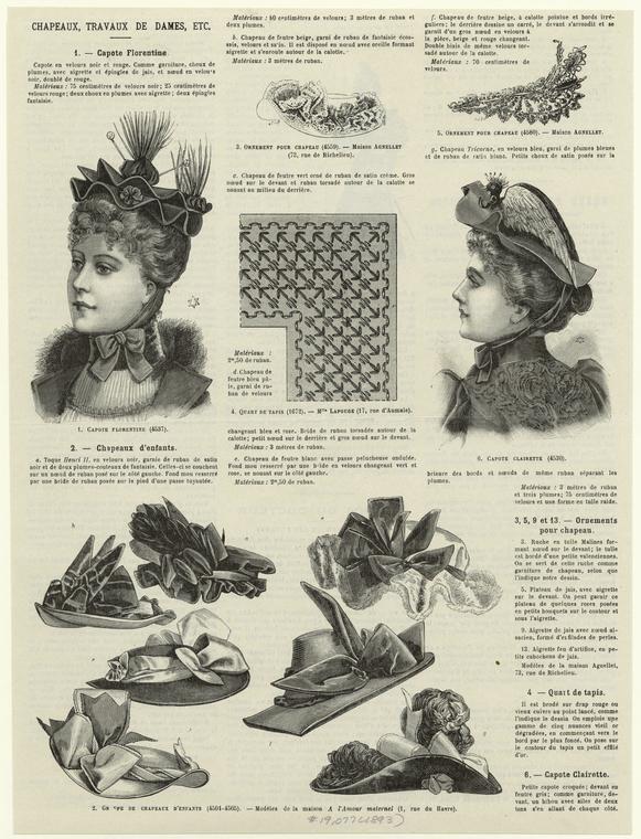 Capote Florentine ; Groupe de chapeaux d'enfants ; Ornement pour chapeau ; Quart de tapis ; Ornement pour chapeau ; Capote Clairette.