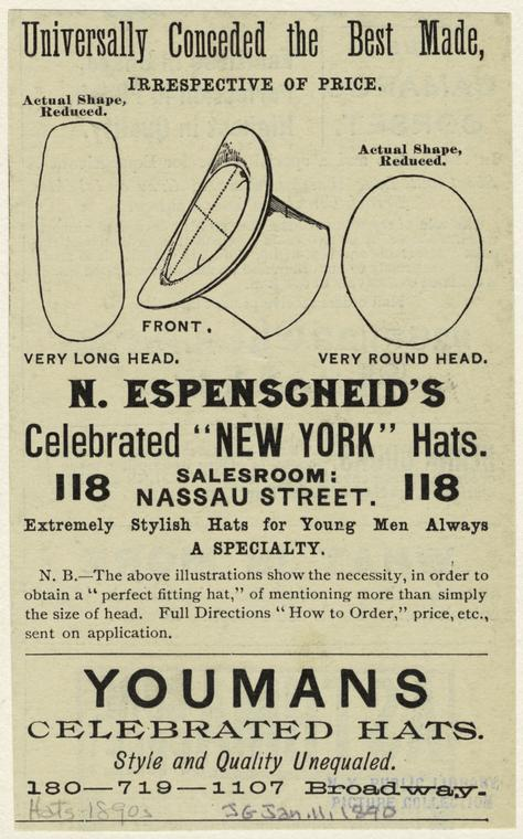 "N. Espenscneid's celebrated ""New York"" hats."