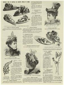 Groupe de chapeaux d'enfants ; Chapeau Rosinette ; Aile en hais pour chapeau ; Chapeau Eva ; Chapeau Tricorne ; Chapeaux de bébés ; Epingles en métal doré et strass.
