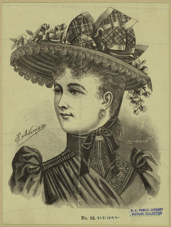 [Woman wearing a hat, 19th century.]