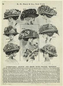 Fashionable crowns and brims with foliage trimming.