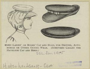 Ladies' or misses' cap and hood, for driving, auto-mobile or other outing wear (sometimes called the havelock cap and hood).