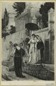 [Servant holding a parasol over the head of a walking woman.]