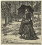 Woman With A Parasol Walking Through A Wooded Area.