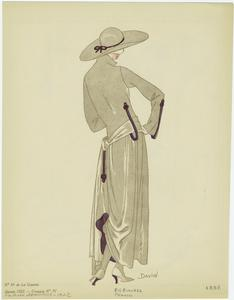 [Back view of a woman in a dress and hat.]