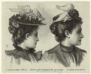 Chapeau liberty ; Capote Sylvie.