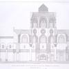 Coupe sur la ligne C-D, du plan de la salle du tombeau de Qalaoum [refers to pl. XV]