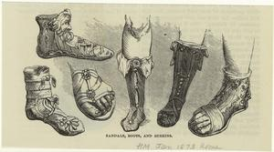 Sandals, boots, and buskins.