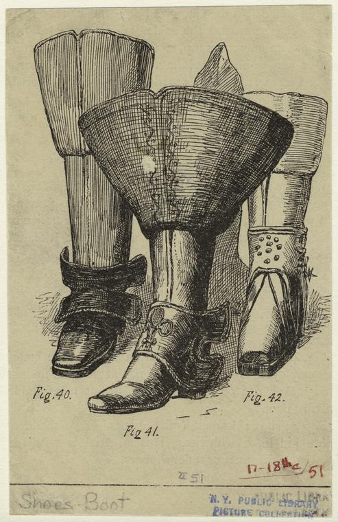[Various styles of boots, 17th-18th century.]