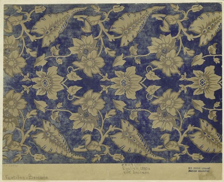 English, 1850s silk brocade.