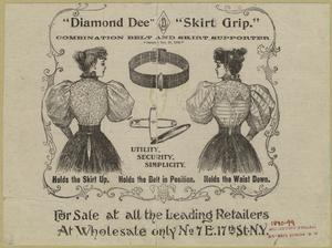 """""""Diamond Dee Skirt Grip"""": combination belt and skirt supporter."""