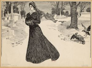 [Widow walking through cemetery.]