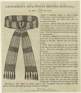 Gentleman's neck-tye in brioche knitting.