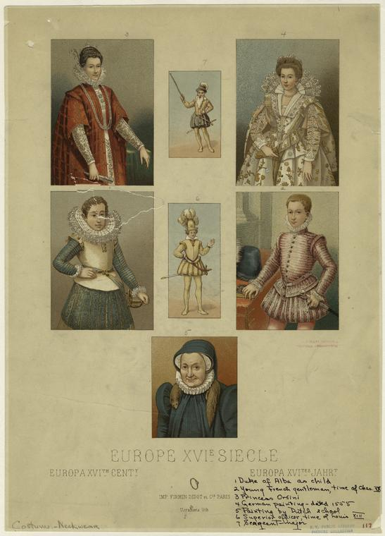 Duke of Alba as child ; Young French gentleman, time of Chas. IX ; Princess Orsini ; German painting dated 1555 ; Painting by Dutch school ; Superior officer, time of Louis XIII ; Sargeant-major.